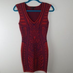 Jealous Tomato Red Geometric Knit Bodycon Dress